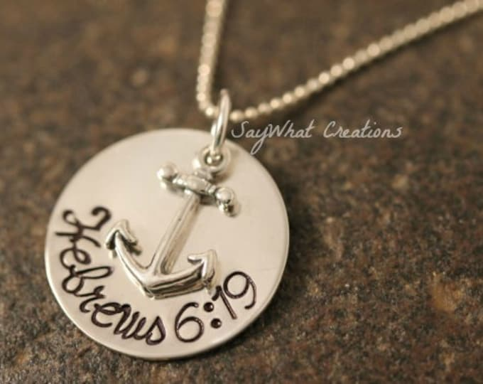 Custom Hand Stamped Sterling Silver Anchor Necklace