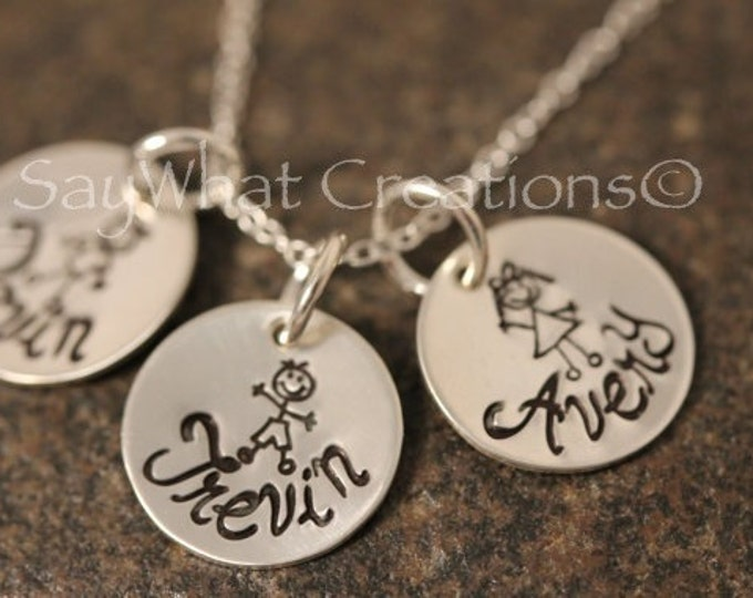 My Stick Family Personalized Sterling Silver Mothers Necklace Hand Stamped with 3 disks