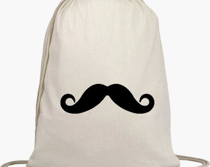 Cinch Sack Backpack - Drawstring Bags - Beach Bags - Natural Cotton Bag - Mustache
