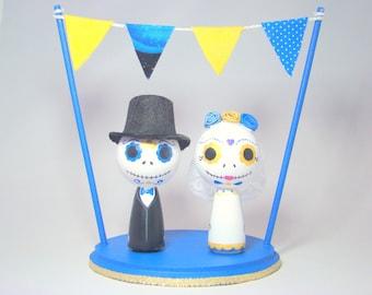 Custom Day of the Dead Kokeshi Doll Wedding Cake Topper