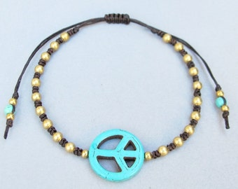 Turquoise Peace Sign Knot Bracelet  B243