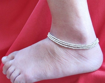 Casual Multi Strand Silver Colour Bead Anklet