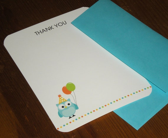 Blue Owl birthday thank you note card - Set of 12