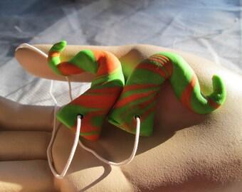 small swirled clay horns, green and orange, Costume Horns, Halloween costume, Renfaire, larp, cosplay horns,