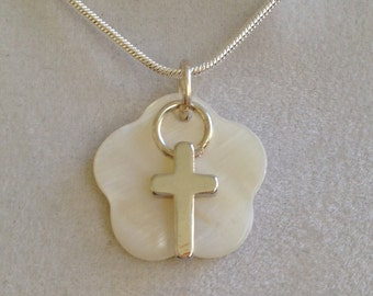 Silver Cross and Mother of Pearl Necklace
