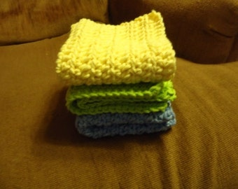 RTS- Set of 3 Crocheted Cotton Dishcloths For Your Kitchen or Bath - Light Yellow Blue Bright Green Clean Household Housewarming Gift Wash