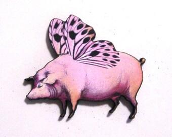 Flying Pig Wooden Magnet