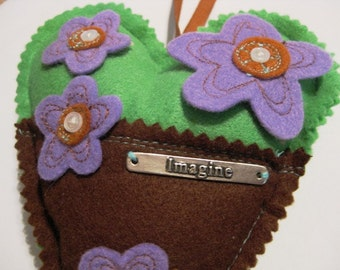 Felt Brown Green Purple Flower Heart Imagine
