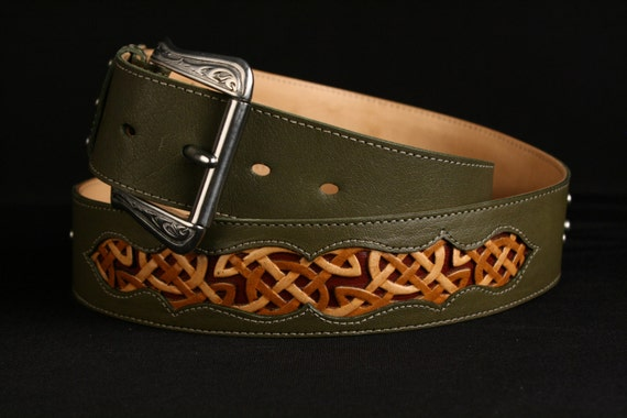 "Leather Belt: green leather belt with a Celtic Design ""Celtic Trilogy Belt"""