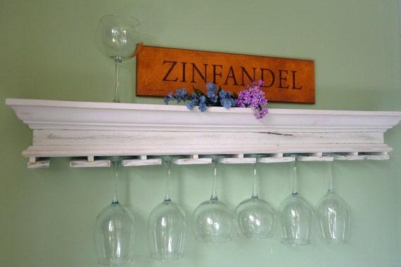 reclaimed wood shelf wine glass holder. Black Bedroom Furniture Sets. Home Design Ideas