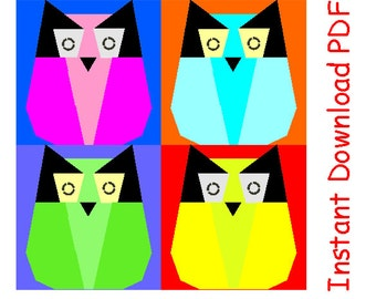 Owls paper pieced block Pattern Andy Warhol inspired INSTANT DOWNLOAD PDF