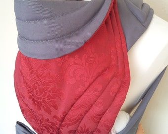 MEI TAI Baby Carrier / Sling / Reversible / Red Royal Flower with Gray / in leg cut model