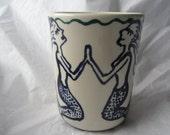 Mermaid Sisters, Hand-painted Ceramic Tumbler