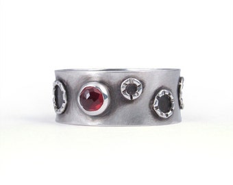 Oxidized Garnet Ring, Size 7.25 mens or womens, handmade artisan jewelry with red gemstone