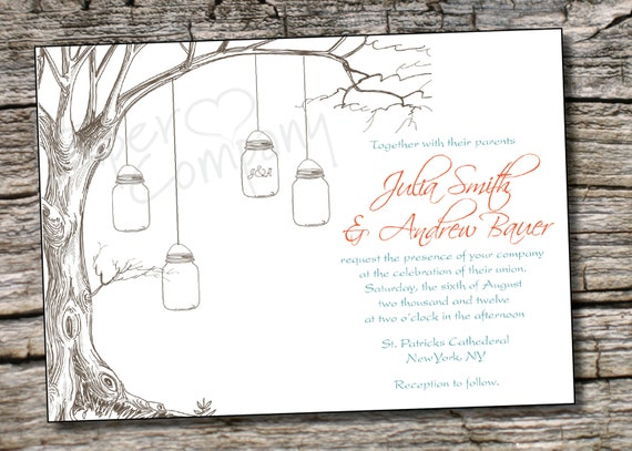 Items similar to VINTAGE TREE Mason Jar Wedding Invitation ...