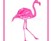 Pair of Palm Beach Chic Hot Pink Facing Flamingos Giclee