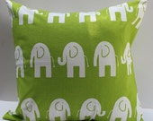 NEW Elephant Green and White Pillow Cover - 18 Inch - Beautiful Pattern Mixes with Variety of Decor and Colors