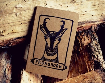 Pronghorn North American Mammal Lined Notebook Moleskine Journal using Hand Carved Stamp Camp Hike Notes Birthday Retirement Gift