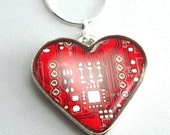 Computer Circuit Board Necklace — Domed Red Heart — Exquisite Geek Chic Gift for Her