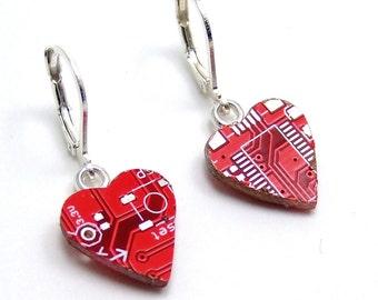 Tech Love Red Circuit Board Heart Earrings — for your Geek Princess