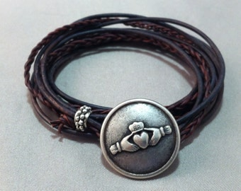 Leather Wrap Bracelet with Claddagh Symbol Closure, Celtic Wrap, Claddagh Bracelet, Celtic jewelry