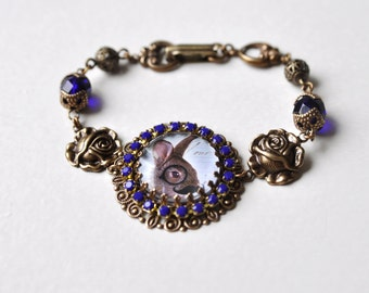 The intellectual Easter Bunny Bracelet, Crystal And Brass Photo Bracelet