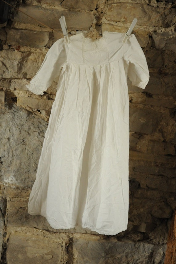 Antique Early Victorian Christening Gown Handmade White