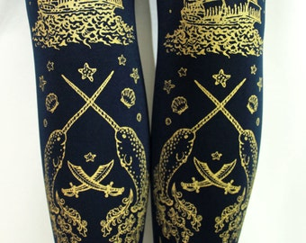 Pirate Tights Narwhal Tattoos Print Medium Tall Gold on Navy Blue Thick Winter Women Nautical Tattoo Sailor Lolita
