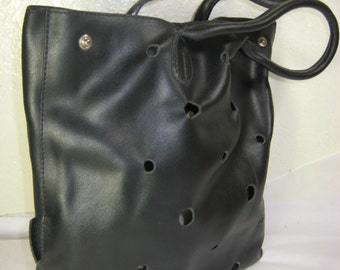 Vintage FURLA Black Leather Smal Tote Bag Italy