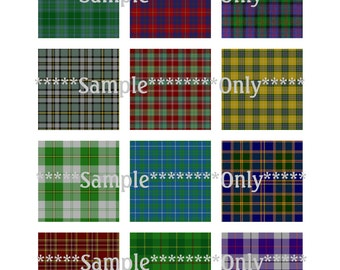 "Set CU 48 Tartan Plaid Digital Collage Large 2 x 2 Inch 2"" Square Magnet 4 Digital Image Sheets Scrapbook Printable Jewelry Instant Download"