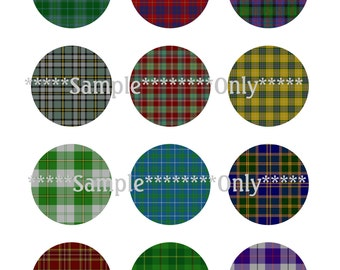 "Set CU 48 Tartan Plaid Digital Collage Large 2"" Inch Circles 48 Images 4 Digital Image Sheets Scrapbook Printable Jewelry Instant Download"