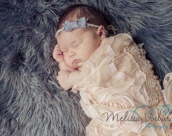 THE GRACIE--Grey/Cream Felt Bow Tieback Newborn Tieback Headband Photography Prop
