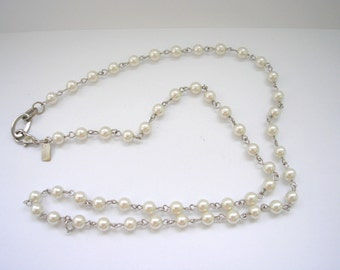 Faux pearl linked beads bead art deco style necklace