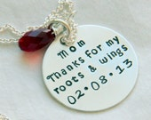 Gift For Mother of The Bride, Thanks for the Roots and Wings, Mom Necklace, Gift For Mother, Mother OF the Bride, Wedding Date