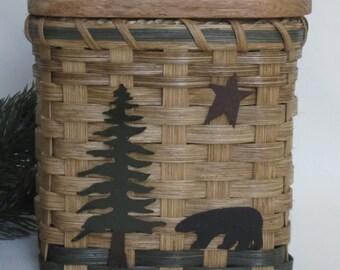 Tissue Basket-Bear / Tissue Box / Tissue Cover / Handwoven Basket