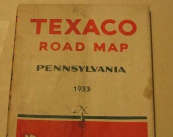 1933 TEXACO Road Map Pennsylvania Tour with Texaco