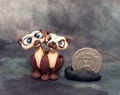 Siamese twin Siamese Cats miniature polymer clay sculpture
