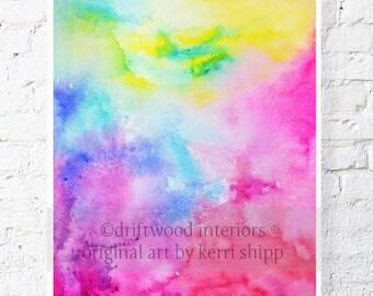 Abstract Watercolor 'Fusion' 11x14 Print - Watercolor Art - Neon Abstract Print - Watercolour Print - Modern Art Print