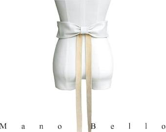 Big Bow Belt Leather Bow Belt, Wedding Dress Belt  White Biege Cream Buff, Belts for women Women Leather Belt  Leather Ribbon Belt only one