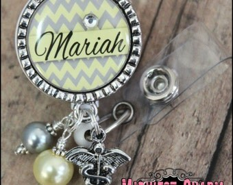 yellow/gray..Personalized badge reel with antique silver bezel...pinch clip...nurse,.teacher..id holder..cook..educational staff