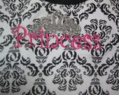 Black, white and hot pink Damask onesie.