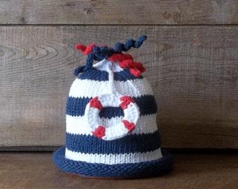 SAILOR Newborn Baby Hat, Nautical Newborn Hat with Anchor, Handmade Cotton Baby Beanie