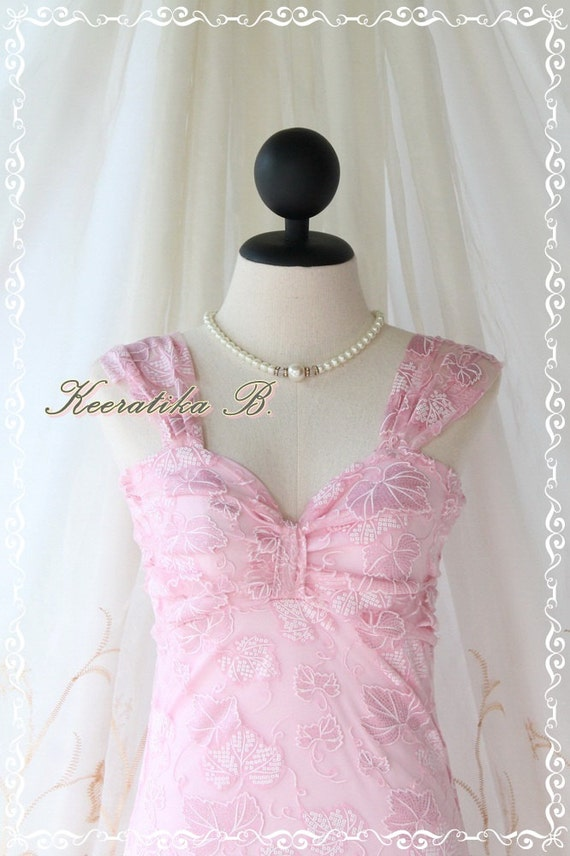 Princess Jasmine lll - Cocktail Wedding Prom Dinner Dancing Party Beach Hawaii Dress Light Pink Indian Gritter Lace Scarf Hem XS-S