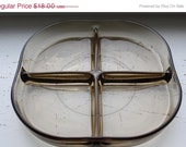 SUMRLUVN Vintage Danish Modern Smoky Brown Serving Dish with Four Sections