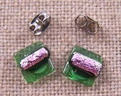 """Tiny Studs Dichroic Post Earrings - 1/4"""" 8mm - Lime Green & Pale Pink Fused Glass Weave / Bright Spring Peridot Green"""