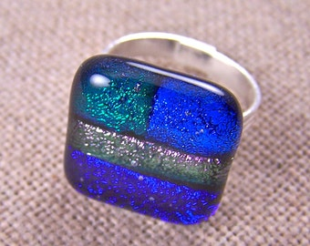"""Big Cocktail Ring ADJUSTABLE Patchwork Dichroic  Fused Glass - 3/4"""" - Purple Green Blue"""