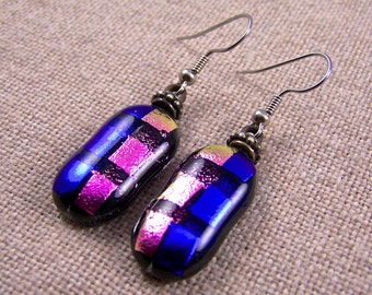 Groovy Dichroic Dangle or Clip On Earrings Blue Violet & Magenta Pink with Silver Base Metal Beads - Surgical Steel French Wire or Clip On