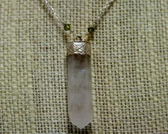 clouded quartz crystal pendant with light green swarovski chrystals