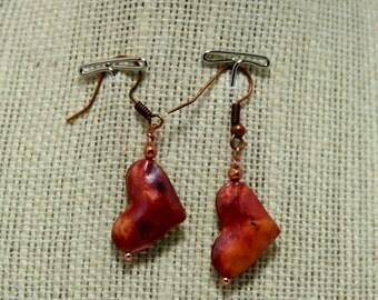 copper puffy heart earrings