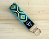 Key Fob, Wrist Key Chain, Wristlet, Turquoise and Brown Geometric Print